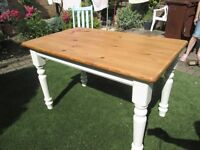 Pine farmhouse kitchen table chabby chic painted with Farrow and Ball paint