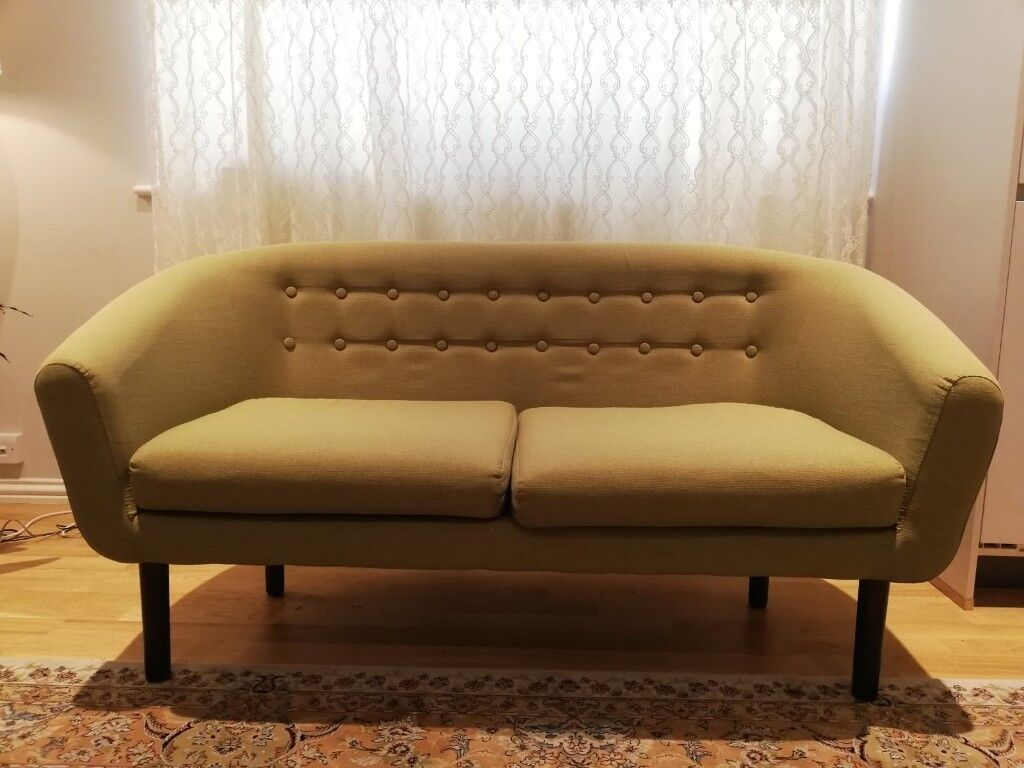 Olive Green 2 Seater Sofa In Excellent Condition