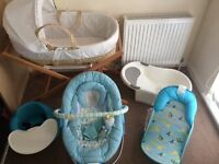 Baby Bundle - Moses Basket, baby bouncer, bumbo with tray, baby bath and summers bath seat. BARGAIN!