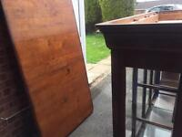 2 cabinets and 8 chairs and table.