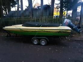17ft broom scorpio on twin wheel trailer