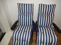 2X New Folding Garden Chairs Patio Outdoor Sun Recliners Lounger Cushion White Blue