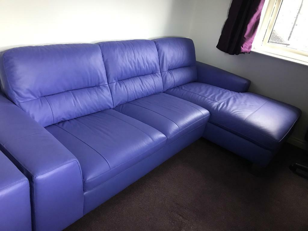 Purple Lilac Leather Corner Sofa Chair And Footstool