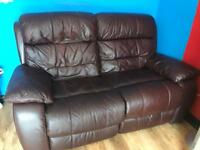 Brown leather two seater reclainer sofa