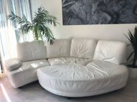 4-5 Seater REAL LEATHER WHITE SOFA LOUNGE