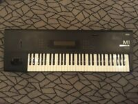 Korg M1 Synthesiser Keyboard with pedal board