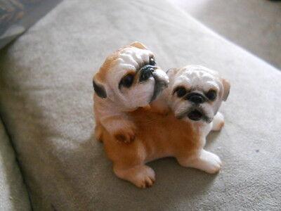 Resin BOXER Puppies Figurine Wicker Pet Wicker Basket Blanket Bed Dog Animal