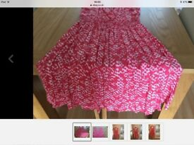 Women's pink summer dress with an all over white print size 12