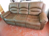 New suede leather reclining sofa BEST PRICE