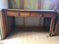 20th Century Antique Oak Writing Desk, Drawers large, vintage wooden study