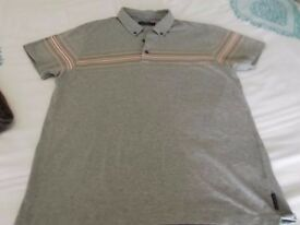 mens french connection polo shirt in grey in vgc