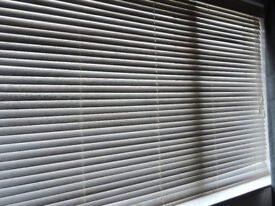 Two horizontally slatted window blinds with all necessary fittings