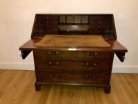 Antique Mahogany Bureau / Desk - Wood with leather inlay
