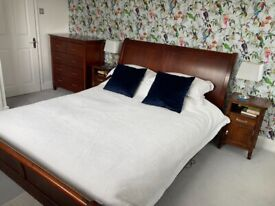 Sleigh bed, mattress, chest of drawers and bedside tables