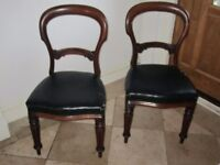 Pair of Antique Victorian Mahogany baloon back chairs with Leather upholstery