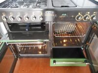 All gas RANGEMASTER 110 range cooker in racing green.