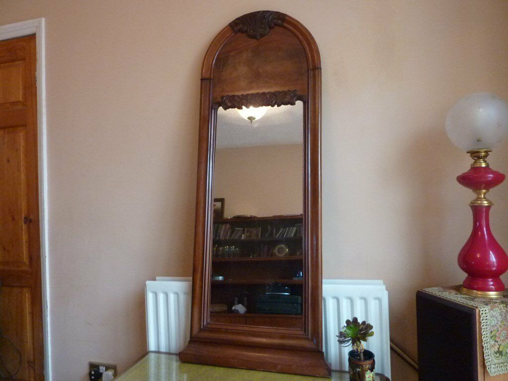 Large Antique Carved Walnut Hall Mirror
