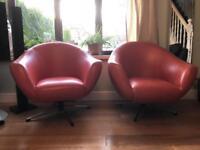 Retro/vintage 70's chairs, burnt orange