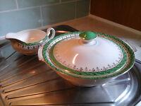 vintage CASSEROLE and GRAVY BOAT, Alfred Meakin England, PRIDE OF ERIN pattern, porcelain bowl + jug