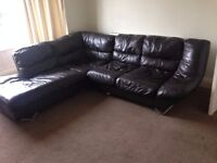 Luxurious, genuine leather corner sofa in good condition.