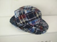 Fedora Hat – 100% Cotton – Checked Pattern – Size Large - £7