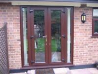 UPvC Double glazed Windows (5) and 2 sets of French doors in Mahogany finish for sale