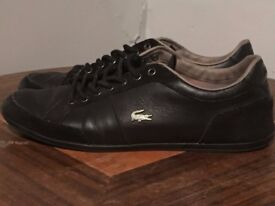 Genuine Black Leather Lacoste Trainers Size 10 - Used