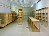 Warehouse Stockroom Garage Office Retail Bespoke Heavy Duty Wooden Storage Racking Shelving Bays.