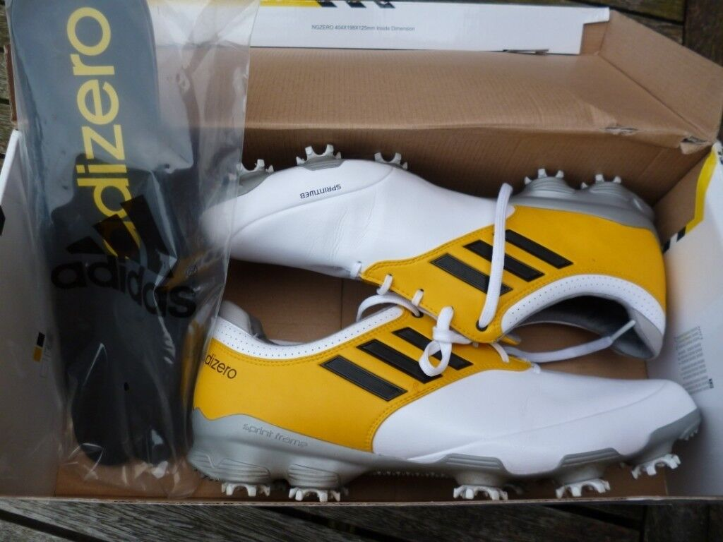3ab990cb028d38 UK SIZE 11 - ADIDAS ADIZERO TOUR GOLF SHOES - WORN ONCE - WHITE   YELLOW    BLACK - ONLY £40