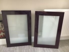 X2 kitchen cupboard doors high gloss purple with frosted glass