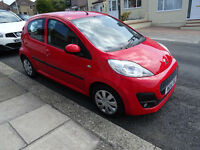 Red Peugeot 107,2014, 5 Doors, Full m.o.t and taxed