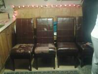 Real leather 4 chairs for table