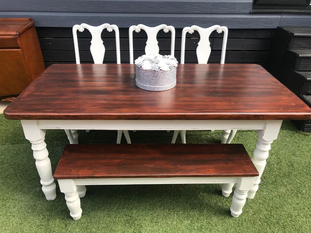 Shabby Chic Farmhouse Dining Table Bench 3 Crushed Velvet Chairs
