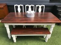 Shabby chic farmhouse dining table, bench & 3 crushed velvet dining chairs