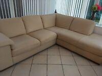 Natuzzi cream leather corner sofa -