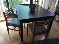 Extendable dining table & 4 vintage/retro chairs