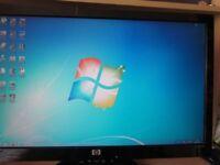 """HP Dual Core Tower PC - Full Bundle - 4GB - 360GB - DVD-RW - Wi-Fi - 22"""" Widescreen - Win 7"""