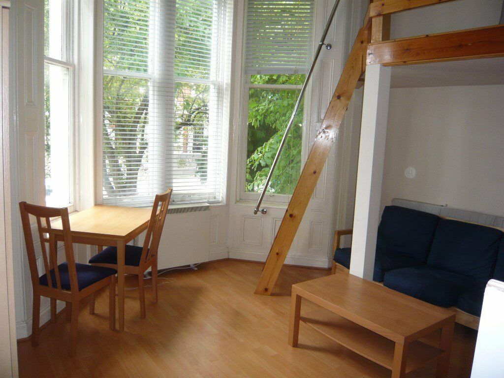 LOVELY MODERN DOUBLE BED MEZZANINE STUDIO FLAT, WITH USE OF GARDEN, INCLUSIVE OF WATER RATES