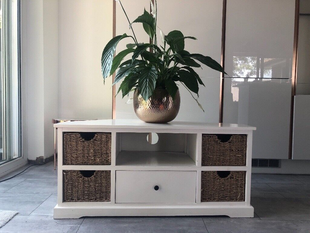 White Wood Corner Tv Cabinet Unit