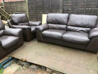 3 Seater Brown leather sofa & 2 Chairs