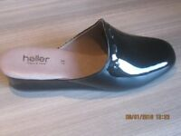 Beautiful women's black patent slippers by Heller - new, never worn