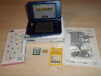 NINTENDO METALLIC BLUE 3DS XL CONSOLE + EXTRAS