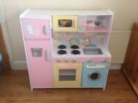 Kids Wooden Toy Kitchen (with plastic food and pots and pans)