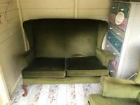 Original vintage Parker Knoll wingback settee and chair