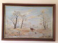 Oil Painting - Duncan Irvine - Horses Ploughing