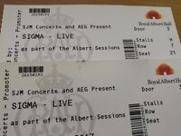 Sigma Live Royal Albert Hall Sessions 27 May £50 for pair of tickets