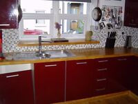 Magnet Kitchen - gloss burgundy flat pack with NEFF fridge-freezer/cooker/oven/sink/extractor.