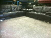 Vilano 2 and 3 Brown genuine leather sofas