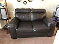 Faux Leather Sofa and 2 Armchairs