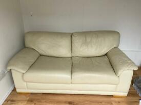 Cream leather sofa bed